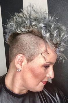 Buzzed Hair, Mohawks, Mohawk Hairstyles, Side Cuts, Going Gray, Undercut, Grey Hair, Dares, Short Hair Styles