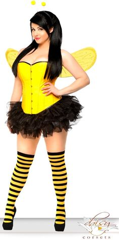 Costume includes faux leather corset with front busk closure, lace-up back for cinching and matching thong; Bee Antennae; Bee Wings; Black Pettiskirt; and Black/Yellow striped stockings  Find it at www.cicihot.com #Welovefashion #Worldoffashion #Fashionlovers #Fashiongods #BeHot #Nightout #Classy #Class #HighFashion #CiciHot