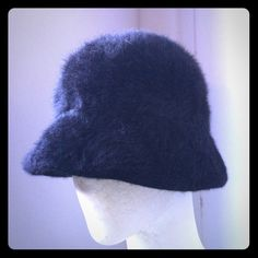 Vintage Kangol Fuzzy Cloche Hat Also available in red in another listing!  Made in England vintage fuzzy hat from Kangol. Narrow brim and narrower still in the back. Stylish and classy!  For a smaller head - ask for exact measurement if interested! Kangol Accessories Hats