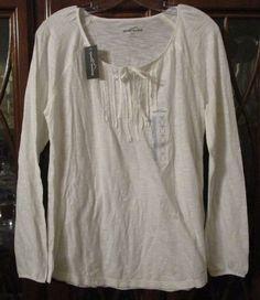 SOLD! Eddie Bauer Womens Ivory Cotton Blend Peasant Boho Hippie Summer Shirt Thin New #EddieBauer #Peasant #Casual