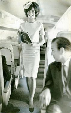 She looks so in control and so pretty! PSA Pacific Southwest Airlines stewardess Christa Simon in 1966