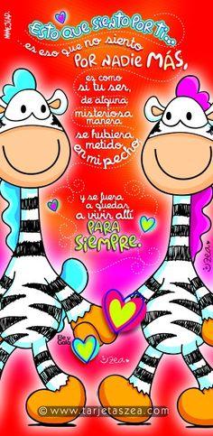 Cebras Ele y Gala paseando de la mano © ZEA www.tarjetaszea.com Grammar Book, Special Day, Smurfs, Cute Pictures, Poems, Marriage, Happy Birthday, Greeting Cards, Inspirational Quotes