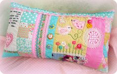 cute quilted, embroidered pillow