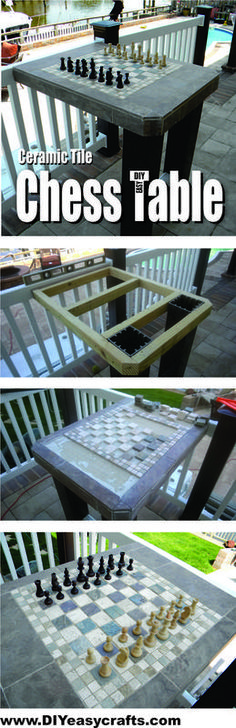 How to make a Ceramic Tile Outdoor Chess Table. Check out our short how to video. www.DIYeasycrafts.com