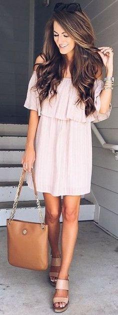 #summer #musthave #trends | Pink Off the Shoulder Dress