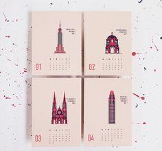 Illustré de 2015 calendrier bâtiments de New York par mmmMAR