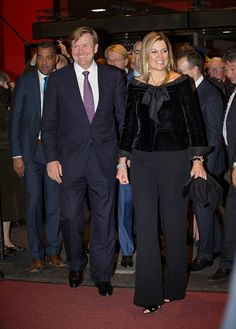King Willem-Alexander of The Netherlands and Queen Maxima of The Netherlands leave the Residentie Orchestra 110th Anniversary on 21.11.2014 in The Hague, The Netherlands.