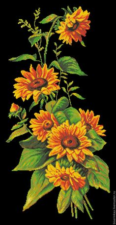 Embroidery Patterns Free, Cross Stitch Patterns, Maria Garcia, Amazing Art, Needlework, Tapestry, Painting, Embroidery Ideas, Sunflowers