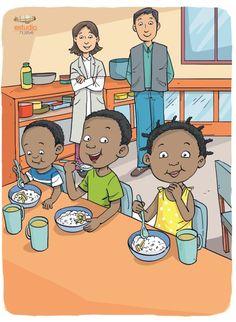 Diseño de Estudio Nueve. Niños desayunando.