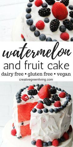 How to make a fresh fruit watermelon cake Cakes To Make, How To Make Cake, Fruit Recipes, Cake Recipes, Dessert Recipes, Desert Fruit, Fresh Fruit Tart, Fresh Fruit Desserts, Recipes