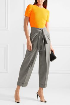 Alexander Wang | Tie-front wool and mohair-blend tapered pants | NET-A-PORTER.COM