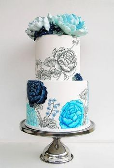 Blue Floral Hand Painted Wedding Cake