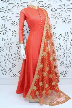 PalkhiFashion Exclusive Full Flair Peach Silk Outfit With Elegant Worked Duppata. Indian Fashion Dresses, Dress Indian Style, Indian Gowns, Indian Designer Outfits, Pakistani Dresses, Indian Outfits, Designer Dresses, Indian Wear, Indian Attire