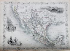 Antique Map California, Mexico and Texas – Original, Vintage, Rare Historical Antique Maps, Charts, Prints, Reproductions of Maps and Charts of Antiquity