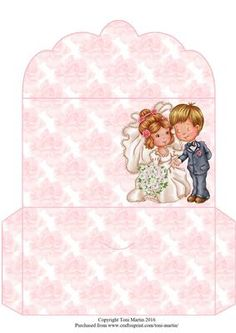 Wedding Couple Money Wallet on Craftsuprint designed by Toni Martin - A money wallet to co-ordinate with my mini kit cup666546_1894 - Now available for download!