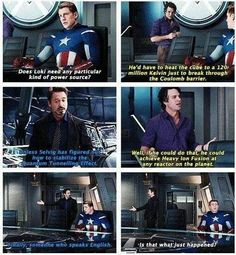 I love how Captain America has no clue what they are talking about but the other 2 Avengers know exactly what is going on...
