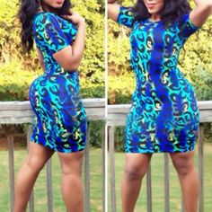 Blue Leopard Body Dress Polyester. Will fit M/L. Dresses