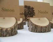 Wood Tree Branch Place Card Holders Set of 12 by MonkeysOnTheRoof. $18.00, via Etsy.