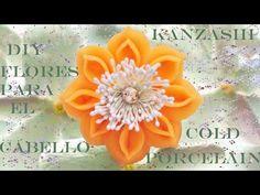 ▶ DIY flores Kanzashi de porcelana fría para el cabello - Kanzashi cold porcelain flowers for hair - YouTube