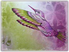 'Mir'acle Art Inspirations: Life is the music...... Using Designs by Ryn: Water Droplets, Hanging Droplet Set and Reaching Hummingbird stamps