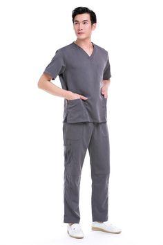 a70f91bccdf 2016 Top Fashion Lab Coat Jalecos Men's Hospital Medical Scrub Set Doctor  Surgical Clothes V Neck Design Multi Pockets