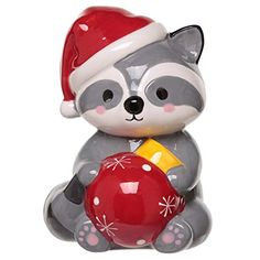 Ceramic Racoon Christmas Money Box Save your pennies in our range of cute and novelty money boxes. Made from ceramics all come with a slot in the top and a rubber bung on the bottom. These are a great gift idea for all the family. Christmas Eve Box, Vintage Christmas, Christmas 2019, Xmas Tree, Christmas Tree Decorations, Xmas Lights, Racoon, Forest Friends, Xmas