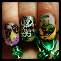 Mardi Gra nails Nail stamping