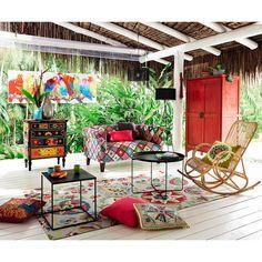 Canapé 2/3 places en tressage kilim multicolore   Maisons du Monde