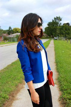 Cobalt blue blazer and orange clutch - My Fash Avenue