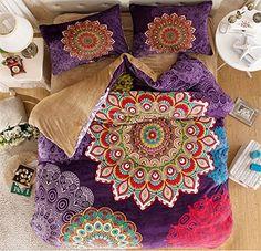 Amazon.com: MakeTop Boho Style Bedding Set, Boho Duvet Cover Set, Bohemian Bedding Set, Queen (4pc without comforter, 3): Home & Kitchen
