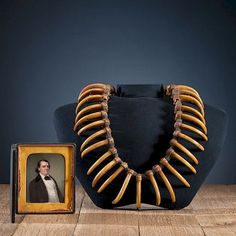 Grizzly Bear Claw Necklace with Portrait Miniature of Original Collector, Thomas Willard Hough (1807-1896)