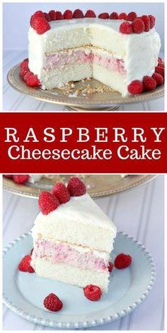 This Raspberry Cheesecake Cake is the perfect, pretty cake for celebrations! #raspberry #cheesecake #cake #recipe via @recipegirl