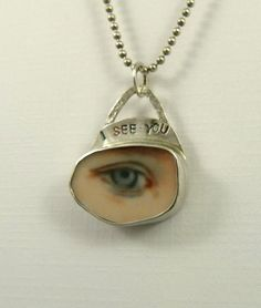 Eye See You - Up Cycled  Sterling Silver And A Ceramic Piece - Art Jewelry Pendant - 1055. $98.00, via Etsy.