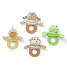 Gund Baby Silly Stripes Teether, Styles May Vary by Gund Baby. $7.00. From the Manufacturer                What baby could resist. Or mom or grandmother for that matter. Functional and fun Silly Stripes teethers in Lamb, Duck, Monkey or Frog designs.                                    Product Description                Pick one animal teether or all 4 different animals. GUND-320175-FR Frogers GUND-320175-MO Monkers GUND-320175-DU Duckens GUND-320175-LA Lambens