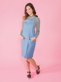 Sew an easy on-trend pinafore dress. Great for beginners, the Cleo sewing pattern is simple to sew. An easy make for confident stitchers.