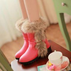 Stunning PU Artificial Short Villi Red Round Closed Toe Flat  Boots