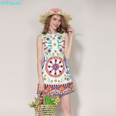 7646818e628 High Quality Runway Sexy Summer Dress Women Sleeveless Floral Print Elegant  Party Beading Mini Short Dresses