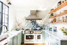 U-shaped galley kitchen with blue star white matte range, sage green cabinets … - Modern Modern U Shaped Kitchens, Cool Kitchens, Kitchen Modern, Green Kitchen, Green Cabinets, Upper Cabinets, White Countertops, Kitchen Remodel, Kitchen Reno