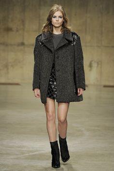 Grey coat with black trim