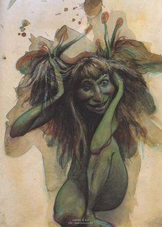 Art by Brian Froud. Forest Creatures, Magical Creatures, Fantasy Creatures, Brian Froud, Troll, Linocut Prints, Art Prints, Block Prints, Kobold
