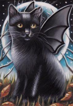 Black Cat Kitten Halloween  Moon Fantasy Original 5x7 Art Painting by MARTA | eBay