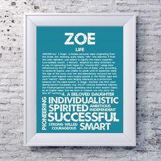 ZOE Personalized Name Print / Typography Print / by OhBabyNames