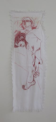 Hand embroidered portrait in pink and skin tone thread on re-appropriated linen.    on the couch, hand embroidery on appropriated linen,  2011.