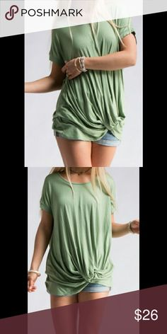COMING SOON!! Apple green knotted tee Super cute loose fitting knotted tee. Great for spring news and summer or to layer in the fall. Gorgeous apple green color is a great accent to any and every outfit!                                                                                    Like or comment under this listing to be notified upon arrival!  Tops Tees - Short Sleeve