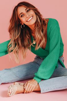 Great Rumours Knit Wrap Top // Green  - Verge Girl