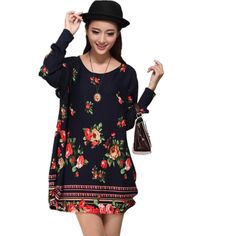 c0d5f103561 Spring summer women casual long sleeve dress fashion dresses floral print