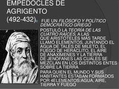 """Empédocles: Teoría """"Cuatro Elementos"""" (Los 4 elementos más importantes de la Tierra forman el todo)"""
