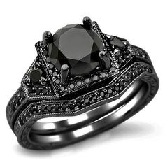2.25ct Black Round Diamond Engagement Ring Wedding Set 14k Black Gold $1,695.00