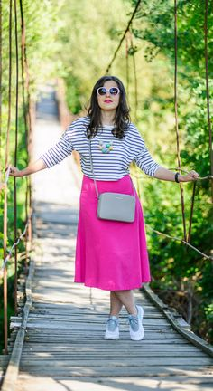 Pink midi skirt and striped crop top