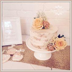 Rustic semi naked single tier wedding cake